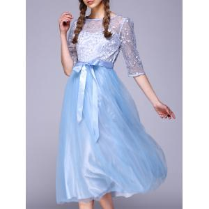 See Through Lace Insert Embroidery Bridesmaid Dress - Light Blue - S