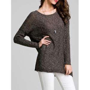Scoop Neck Long Sleeve Women's Thin Sweater - Deep Gray - One Size