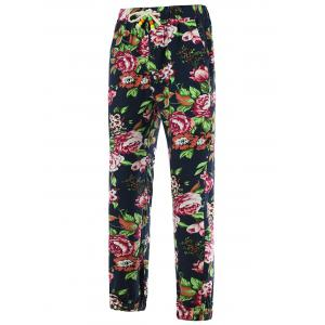 Drawstring 3D Flower Print Linen Pants