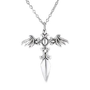 Vintage Cross Wings Sweater Chain For Men - Silver