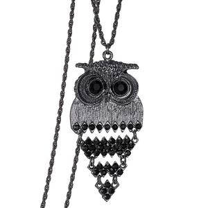 Vintage Alloy Owl Sweater Chain For Women