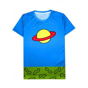 Color Block Cartoon Saturn Print Round Neck Short Sleeve T-Shirt For Men