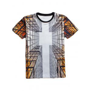 Cool 3D Printed Crew Neck T Shirt - Colormix - S