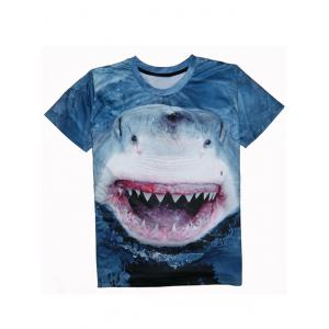 Shark 3D Print Round Neck Short Sleeve T-Shirt For Men - Deep Blue - 2xl
