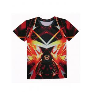 Round Neck Short Sleeve Abstract 3D Print T-Shirt For Men