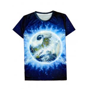 Earth 3D Print Round Neck Short Sleeve T-Shirt For Men