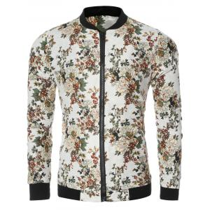 Vintage Flower Print Bomber Collar Long Sleeve Jacket