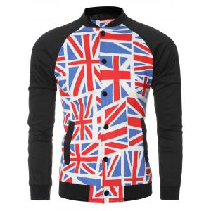 The Union Jack Printed Baseball Collar Spliced Long Sleeve Jacket For Men