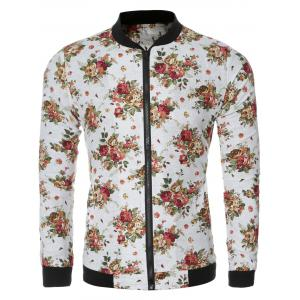 Flowers Print Bomber Collar Long Sleeve Jacket