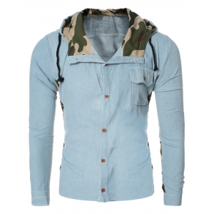 Fashion Camo Collar Spliced Hooded Long Sleeve Denim Shirt For Men