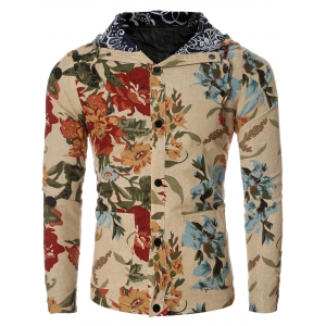Vintage Flower Print Hooded Floral Lining Design Long Sleeve Shirt For Men