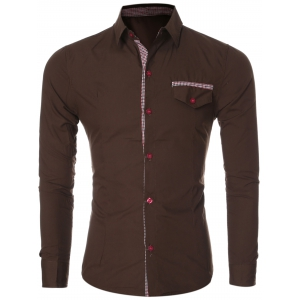 Plaid Spliced Long Sleeve Slim-Fit Formal Shirt - Coffee - L