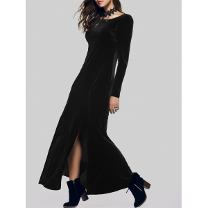 Maxi Velvet Slit Long Sleeve Party Dress - BLACK XL
