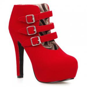 Chic Flock and Buckles Design Ankle Boots For Women -