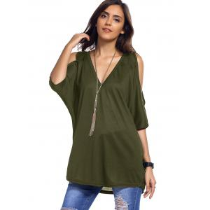 Cold Shoulder Asymmetrical Low Cut V Neck Tee - ARMY GREEN XL