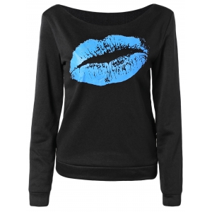 Women's Stylish Oblique Shoulder Long Sleeve Lip Print T-Shirt - BLUE 2XL