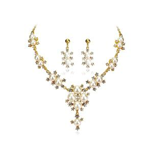 Elegant Rhinestone Faux Pearl Necklace Earrings - White