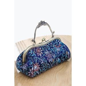 Floral Pattern Hasp Vintage Evening Bag - Blue