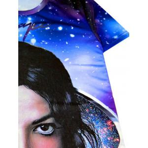 Starry 3D Print Round Neck Short Sleeve T-Shirt For Men - PURPLE 2XL