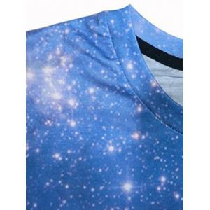 Starry Sky 3D Galaxy Print Trippy T-shirt - BLUE 2XL