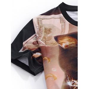 Cat 3D Print Round Neck Short Sleeve T-Shirt For Men - BROWN XL