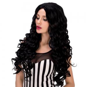 Faddish Long Curly Black Women's Synthetic Hair Wig - BLACK