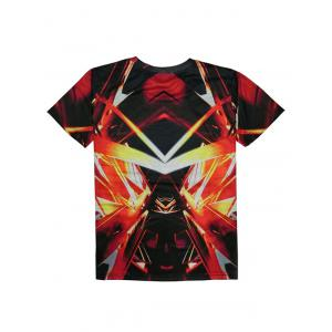 Round Neck Short Sleeve Abstract 3D Print T-Shirt For Men - RED XL