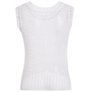 Casual Hollow Out Knitted Tank Top For Women -