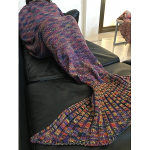 Fashion Colorful Printed Warmth Wool Knitted Mermaid Tail Design Blanket - PURPLE