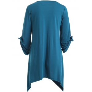 Stylish Scoop Neck Ruched 3/4 Sleeve Irregular T-Shirt For Women -
