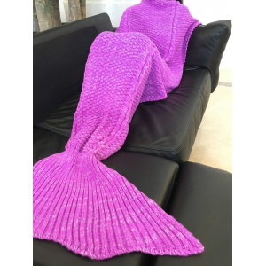 Comfortable Solid Color Warmth Wool Knitted Mermaid Tail Design Blanket -