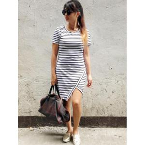 Chic Striped Asymmetrical Slit Dress -