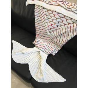 Chic Quality Scrambled Pattern Warmth Knitted Mermaid Tail Design Blanket - WHITE