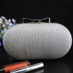Fashionable Bow and Wrinkle Design Evening Bag For Women - SILVER