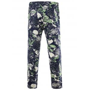 Drawstring Leaves Print Cotton and Linen Pants - COLORMIX 4XL