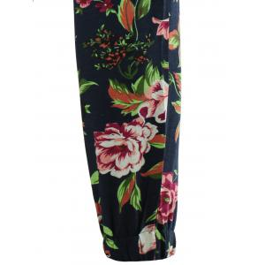 Drawstring 3D Flower Print Linen Pants - COLORMIX 2XL