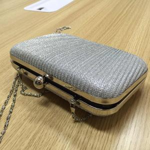 Stylish Solid Color and Metallic Ball Design Evening Bag For Women - SILVER