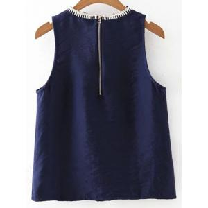 Stylish Round Collar Embroidery Women's Tank Top -