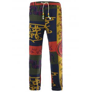 Drawstring Color Block Spliced Totem Print Cotton Linen Pants - COLORMIX 3XL