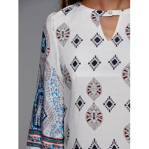 Cut Out Half Sleeve Tribal Print Dress -