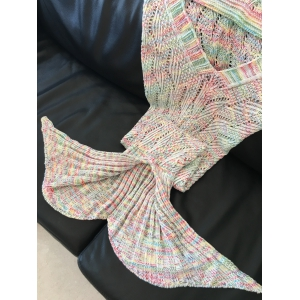 Fashion Wavy Stripe Pattern Knitted Mermaid Tail Design Blanket - COLORMIX