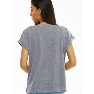 Grey Letter Pattern T-Shirt -