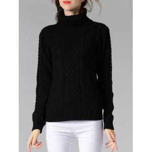 Long Sleeve Turtle Neck Solid Color Sweater - BLACK M