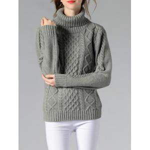Long Sleeve Turtle Neck Solid Color Sweater - GRAY S