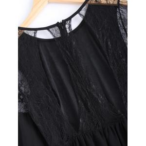 Lace Panel Cut Out Sheer Maxi Prom Dress - BLACK M
