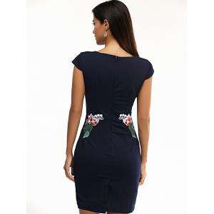 Jewel Neck Floral Embroidered Bodycon Dress - PURPLISH BLUE 3XL