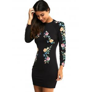 Long Sleeve Round Neck Floral Print Dress -