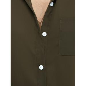 Long Sleeve Pure Color Shirt - ARMY GREEN XL