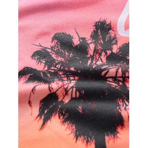 3D Ombre Trees and Letters Print Round Neck Short Sleeve T-Shirt For Men -