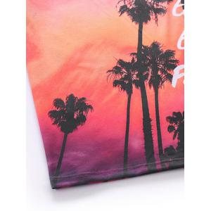 3D Ombre Trees and Letters Print Round Neck Short Sleeve T-Shirt For Men - RED 2XL